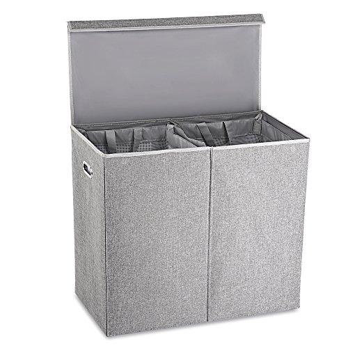 Zwei Fächer Wäschekorb Faltbarer Wäschesammler Kleidungsorganizer mit magnetischem Deckel und Abnehmbaren Innensäcke, Grau