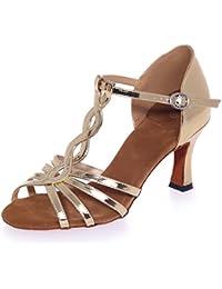 Elobaby Zapatos De Baile De Mujer Sandalias De PU Peep Toes Samba De SalóN De TacóN Alto/Hebilla De TacóN de 7.5cm