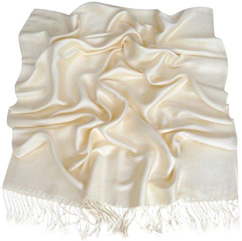 CJ Apparel Paschminaschal, einfarbig, in mehr als 60 Farben erhältlich - Elfenbein (Schals Und Wraps Für Hochzeit)