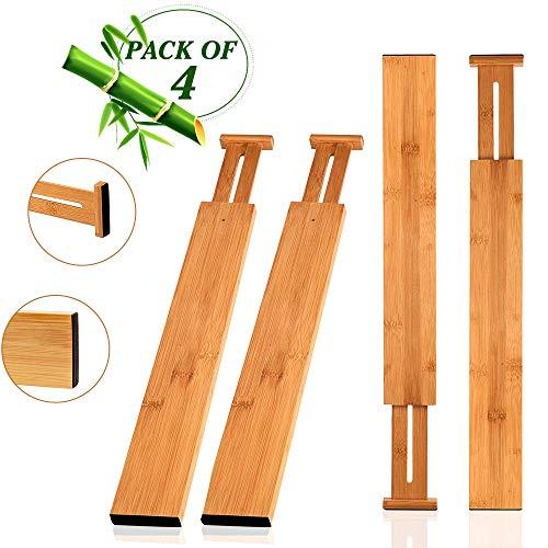 Wooden-Life Schubladen Organizer, Schubladentrenner, Schubladenteiler, Die 4er-Set Bambus Schubladentrenner geeignet für Küche, Kommode, Schlafzimmer, Baby Schublade, Bad, Schreibtisch (Holz-küche-schublade Teiler)