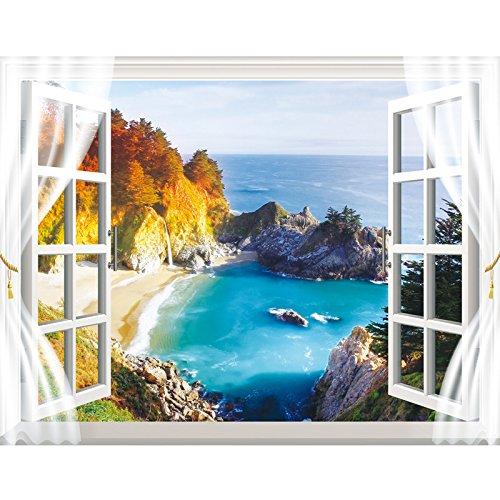 Preisvergleich Produktbild YUELA Poster Aufkleber creative Fake window_Wohnzimmer 3D Dreidimensionale warmen Selbstklebende Tapete Zimmer ornament Sticker creative fake Fenster,  Europäische Golf Windowbag