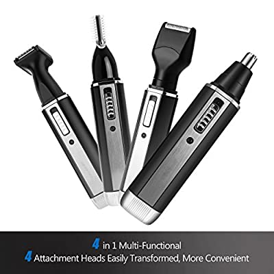 Nose ear Hair Trimmer, Professional 4 in 1 Rechargable Stainless Steel Blade Electric Ear Nose Hair Beard Personal Trimmer for Men Waterproof Shaver Groomer Set (black) from Spirit Light
