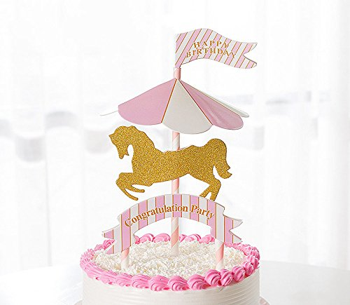 Karussel Cake Toppers drehendes Pferd Cupcake Deko Happy Birthday Kuchendeko (Rosa)