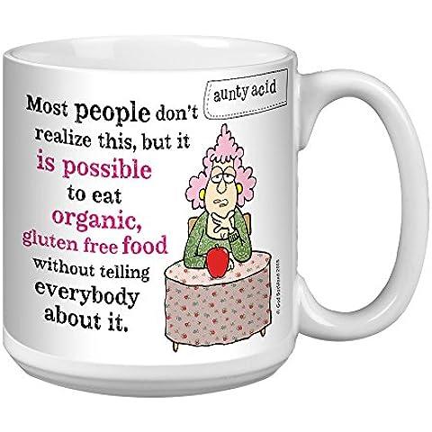 Tree-Free Greetings Aunty Acid organico e Gluten Free-Tazza da caffè, in ceramica, multicolore, 590 ml