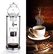 600ML Ice Cold Brew Dripper Coffee Maker, Adjustable Dripper in Stainless Steel, Reusable Glass Filter Tools,