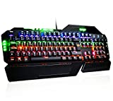 TOPELEK Clavier Gamer 104 Touches (Interrupteur Bleu, Clavette) AZERTY Clavier Gameing Mécanique...