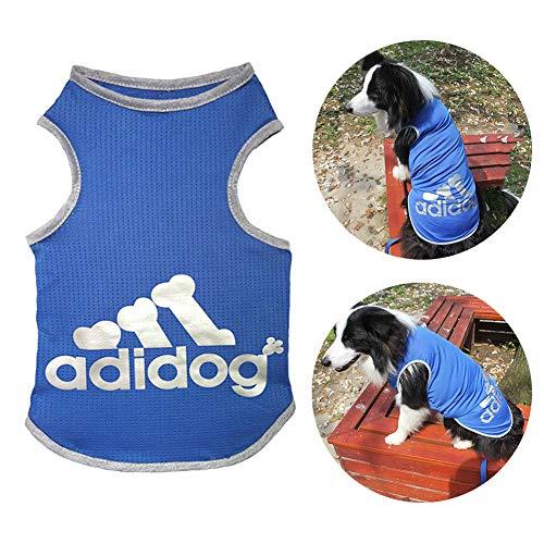 TVMALL Pet Adidog Hund T-Shirt 100% Baumwolle großer Hund Weste Sommer Mesh atmungsaktiv Hund Shirt Labrador Retriever Golden Retriever Samoyed Mode Mantel große übergroße Hundekleidung 3XL-9XL