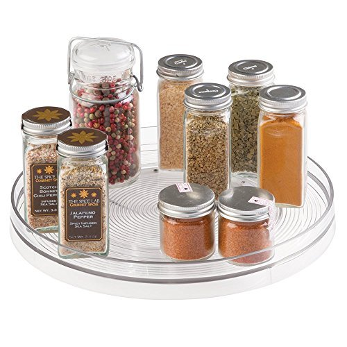 mDesign Lazy Susan Turntable Spice Organizer for Kitchen Pantry ...