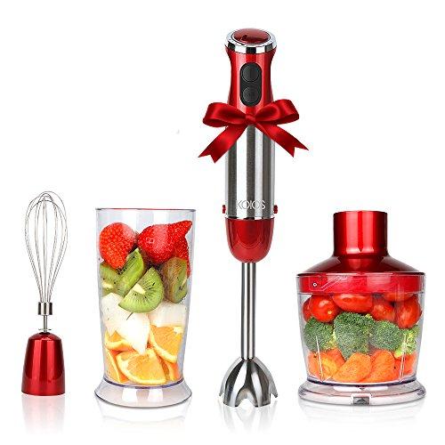 KOIOS Leistungsstarker HB-2046 Stabmixer mit Zubehör ( 500 ml Zerkleinerer , Edelstahl-Schneebesen, 600ml Becherglas) 600 Watt, Rot