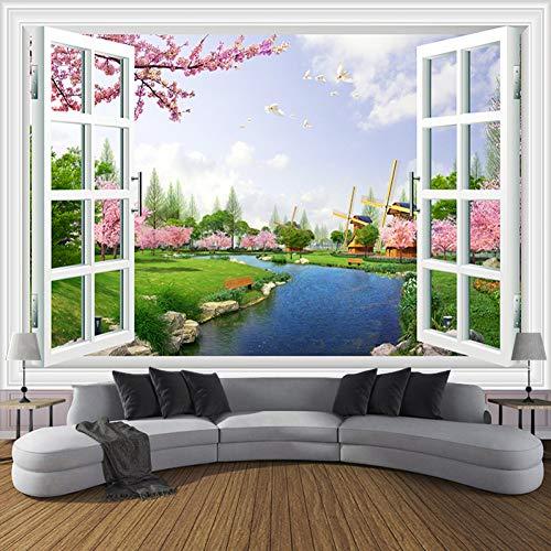Flyyl 3d fototapete fenster wiese fluss kirsche windmühle wohnzimmer tv sofa hintergrund wandmalerei dekoration -