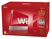 "Nintendo Wii ""Jubiläums Pak"" - Konsole inkl. Wii Sports, New Super Mario Bros. Wii, Donkey Kong (Original Edition) + Remote Plus Controller, red"