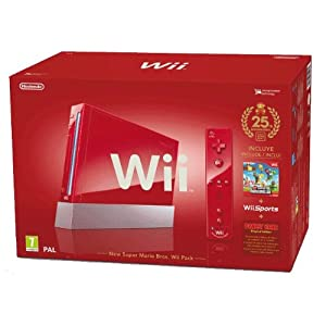 "Nintendo Wii ""Jubiläums Pak"" – Konsole inkl. Wii Sports, New Super Mario Bros. Wii, Donkey Kong (Original Edition) + Remote Plus Controller, red"