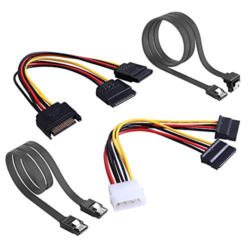 Rantecks   SSD / SATA III Cables de conexión del disco duro con 4PCS SATA Cable y 2PCS SATA Power Splitter Cable para SATA SSD HDD CD Driver CD Writer