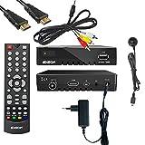 Edision Kabelreceiver Proton T265 DVB-C/T2 für digitales Kabelfernsehen(Cinch+externes IR Auge) inkl. Kabelabel HDMI Kabel