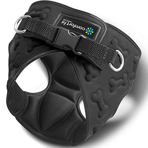 Comfort Fit weiches Hundegeschirr für kleine Hunde, gepolstert, einfaches Anlegen, atmungsaktiv, leicht und flexibel, 3D Design, Größe XS, schwarz