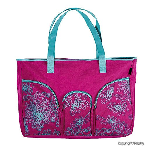 fashy® IMPERIA Badetasche, Strandtasche, Freizeittasche aus 600D Polyester mit 1 Innen und 3 Außentaschen, Reißverschluss und Bodenfalte - (Made in Germany) (Strandtasche Polyester)