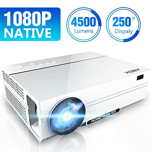 Proyector 4500 Lúmenes ABOX A6, Resolución Nativa 1920*1080P, LED Video Proyector de Cine en Casa Soporte 4K Full HD Upgraded, Contraste 4000: 1, con Audio Hi-Fi y Multiples Interfaces