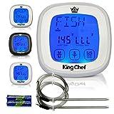 King Chef Grill Digitales Thermometer und Timer mit 2Edelstahl Sonden, Kühlschrank Magnete, und sofort Lesen Kochen–Beste für Küche Grill Smoker BBQ Fleisch, Milchprodukte, Candy weiß