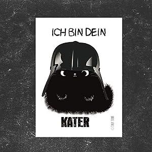 """Katzen Sticker Kater Moo Aufkleber"""" Ich bin dein Kater"""" Darth Vader Starwars schwarze Katze"""
