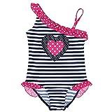 IINIIM Une Pièce Costume rayures Maillot de Bain Bébé Fille Rose Vif Bretelle Bikini 1-8 Ans