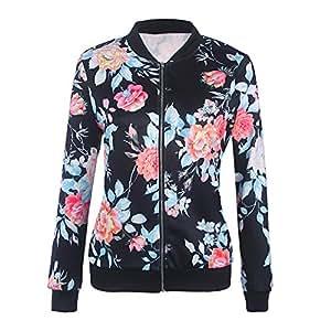 Rrimin Women Biker Celebrity Camo Flower Floral Print Bomber ...