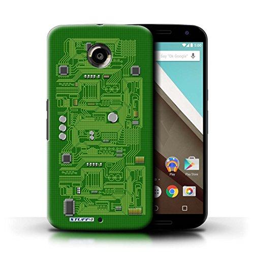 Kobalt® Imprimé Etui / Coque pour Motorola Nexus 6 / Jaune conception / Série Circuit Board Vert