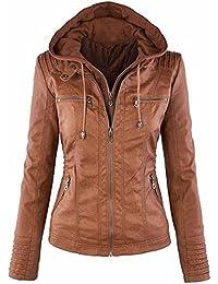 AHOOME Femme Veste En Cuir Blousons Fermeture Éclair Manteau à Capuche Court Veste Jacket Hooded Tops Automne- Hiver 2017