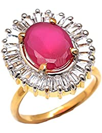 Geode Delight Gold Plated American Diamond Adjustable Ring For Girls And Women