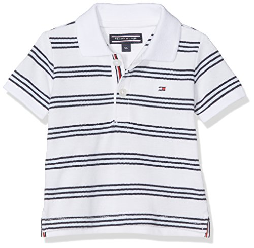 Tommy Hilfiger Baby-Jungen Poloshirt Striped Boy Polo S, Weiß (Classic White 100), 68
