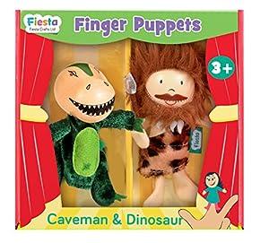 FIESTA Crafts-t-2886Caveman & Dinosaurio Juego de Marionetas de Dedo