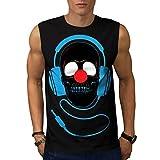 Headphone Skull Face Clown Nose Men NEW S-2XL Sleeveless T-shirt | Wellcoda