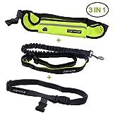 Startostar Hands Free Running Dog Lead / Reflective Dual Handle Bungee Leash with Adjustable Waist Belt - Running Belt Pouch Fits Phones, Dog Waste Bag, Keys for Hiking, Running, Jogging, Walking