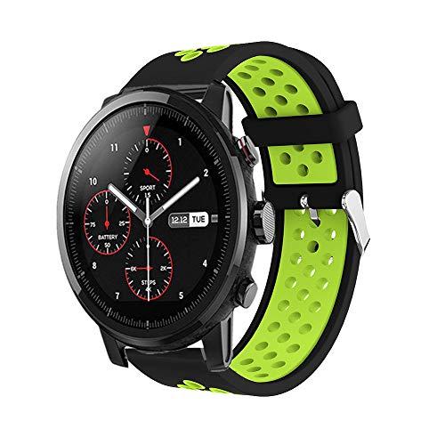 Saisiyiky Correa de Reloj Compatible con Amazfit Xiaomi Huami,22mm de Silicona Ajuste rápido Pulsera de Repuesto para Pulsera Deportiva Smart Watch (Verde)