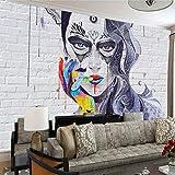BHXINGMU 3D Benutzerdefinierte Wandbild Graffiti Dame Mauer Tapete Wohnzimmer Schlafzimmer Kunst Wandbild Tapete Dekoration 320Cm(H)×450Cm(W)