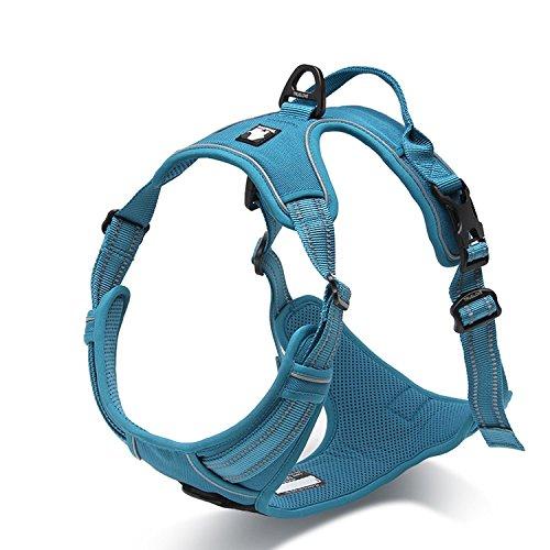 Vivi Bear Strapazierfähiges Hundegeschirr mit reflektierenden 3M-Sicherheitstreifen, Hundegeschirr, verstellbar, gepolstert, mit Hundeleinen-Ring, verschiedene Größen -
