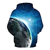 WEIYIGE Sweatshirt 3D Star Earth Print mit Cap Pocket Sleeve Sweater Kapuzenpullover Herren - L