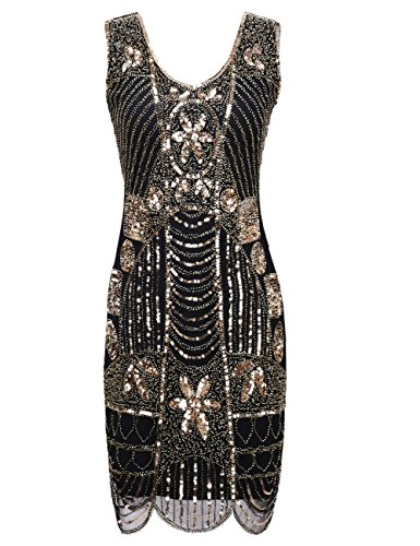 kayamiya Damen Retro 1920er Perlen Pailletten Blatt Art Deco Gatsby Flapper Kleid S Gold