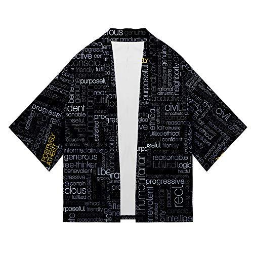 WTZFHF Retro 3D Printed Shirt Herren Chinese Kimono Robe Sieben-Punkt-Ärmel Strickjacke Sonnenschutz Kleidungsstil Mantel Unisex -