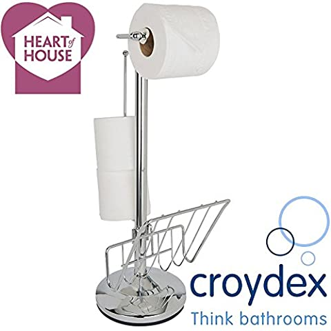 HEART of HOUSE® (Made by Croydex) Free Standing Bathroom Paper Toilet Roll Tissue Holder Strong Steel Metal Chrome Finish