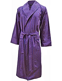 Lloyd Attree & Smith Men's Lightweight Cotton Dressing Gown - Blue, Red and White Stripe
