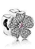 Pandora Damen-Charm Pavé Apfelblüte 925 Silber Kristall pink-791831NBP