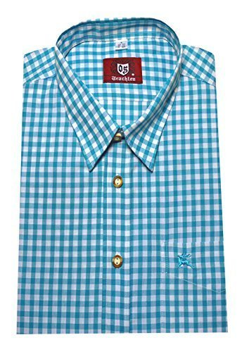 Trachtenhemd weiß-türkis XXXXL