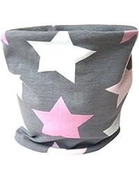 WOLLHUHN Warmes Halstuch, Schlupfschal Big Stars grau/rosa/pink, innen Fleece grau, für Mädchen 20151211