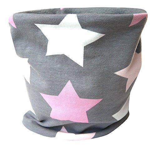 Wollhuhn Mädchen Warmes Big Stars Halstuch/Schlupfschal grau/rosa/pink innen Fleece grau 20151211