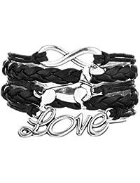 Retro Style Dachshund Dog Pendant Infinity Love Braided Multilayer Leather Bracelet