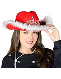 6 Christmas Festive Red Cowboy Hat / Feather Trim & Light Up Flashing LED Tiara
