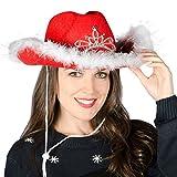 6 Christmas Festive Red Cowboy Hat / Feather Trim & Light Up Flashing LED Tiara