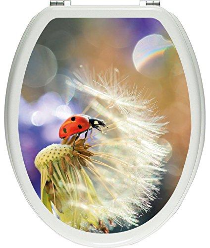 Pixxprint 3D_WCs_2635_32x40 Marienkäfer auf Pusteblume als Toilettendeckel Aufkleber, WC, Klodeckel, gläzendes Material, bunt, 40 x 32 cm