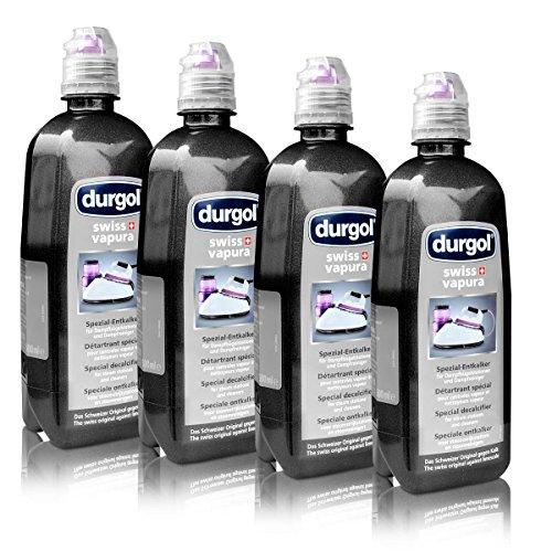 4x Durgol Swiss Vapura Spezial Entkalker 500 ml für Dampfbügelstationen und Dampfreiniger