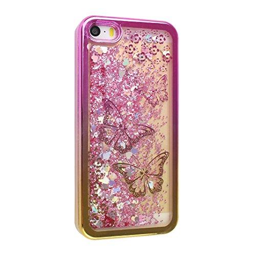 Hülle iPhone SE Treibsand Schale 4.0 Zoll, iPhone 5 Treibsand Schale, iPhone 5S Treibsand Schale, Moon mood® Color Gradient Überzug Plating Case für Apple iPhone 5/5S/SE Durchsichtige Handyhülle 3D Cr 1 Schmetterling